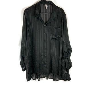 Xhilaration Black Chiffon Button Down Blouse  3X